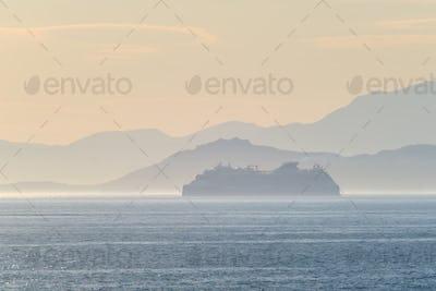 Cruise liner ship in Mediterranea sea