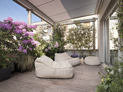 Exterior Shots of a Modern Furnished Terrace with Wooden Floor