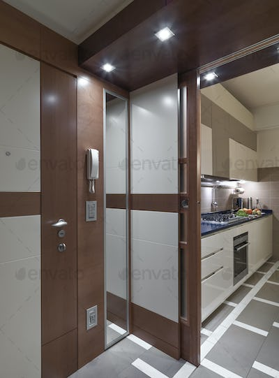 Interiors of a Modern Corridor and Kitchen