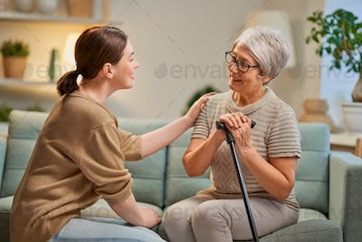 Elderly patient and caregiver