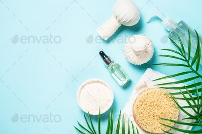 Spa treatment Flat lay background on blue