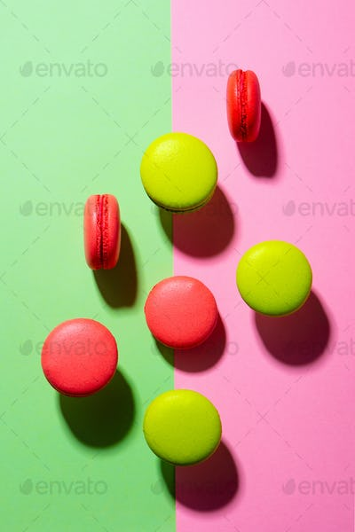 Macaroons Dessert on Colorful Background. Top view.
