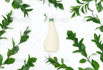 Bio spray bottle with leaves and natural components