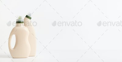 Two eco designed bottles of natural detergent for cleaning