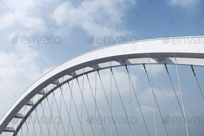 modern suspension bridge closeup