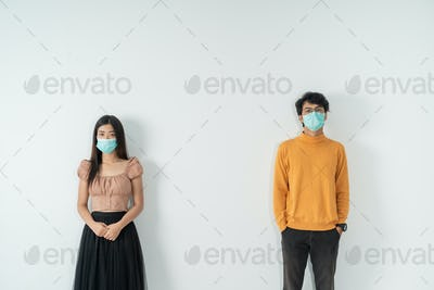 social distancing. people with masks