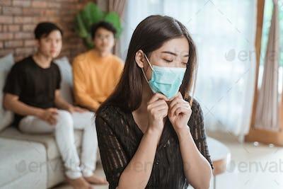 woman wearing medical masks during virus pandemic