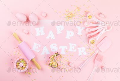 Easter baking background.Concept of cooking traditional festive food.Postcard.