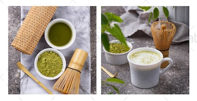 Matcha latte and tools for prepare green tea drink