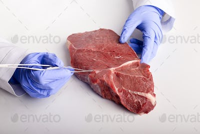 Doctor inspecting meat sample with tweezers free space