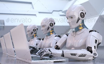 Robots working with laptop