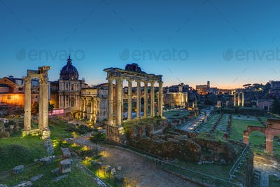 The famous ruins of the Roman Forum