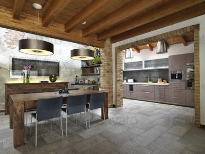 Interiors of a Modern Living Room Overlooking on the Kitchen