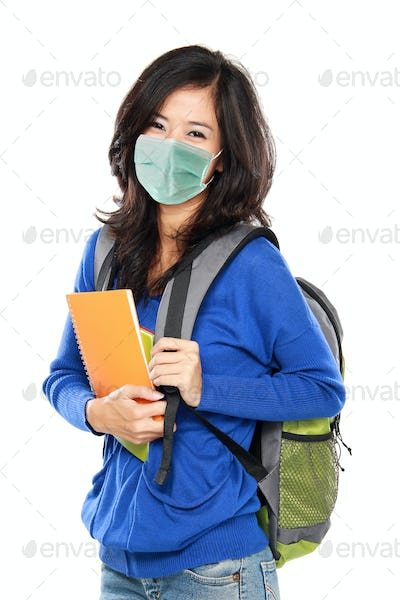 female student wear masks protection