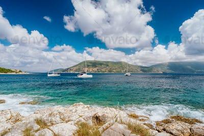 Seascape near Fiskardo greeek town.Kefalonia, Ionian islands, Greece. Mediterranean sea, white yacht