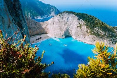 Navagio beach at Zakynthos island, Greece. Stranded panagiotis freightliner ship in beautiful blue