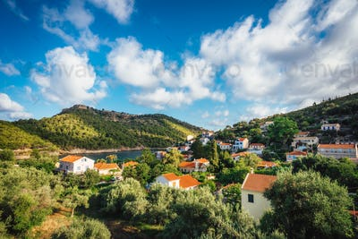 Assos town village, Kefalonia island, Greece. Beautiful cloudscape in sky