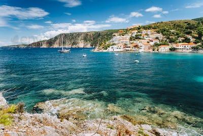 Beautiful Assos small town located on Kefalonia island. Summer vacation season in Greece