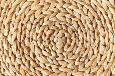 Wicker round placemat surface texture top view