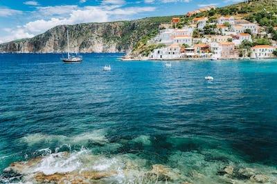 Assos village Mediterranean Sea, Greece. Summer vacation on Greek Island
