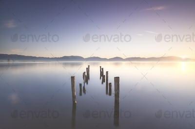 Wooden pier or jetty remains at sunrise. Massaciuccoli lake. Torre del Lago, Versilia Tuscany, Italy