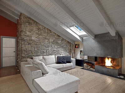 Interiors of a Modern Living Room in the Attic