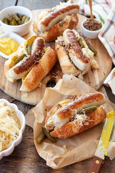 Delicious pork sausage hot dogs