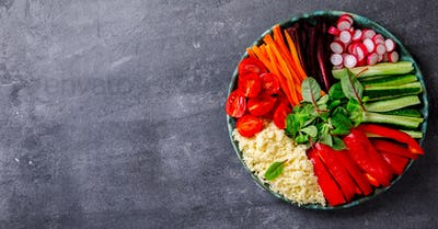 Buddha Bowl Vegetarian.aw Vegetables and  in Couscous