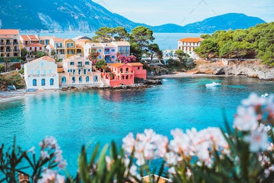 Bright white flower blossom in front of turquoise colored bay in Mediterranean sea and beautiful
