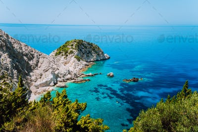 View to Agia Eleni beach in Kefalonia Island, Greece. Most beautiful rocky wild beaches with clear