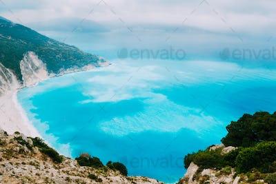 Azure water of Myrtos Beach, Kefalonia Island. Best beaches in the world and the Mediterranean