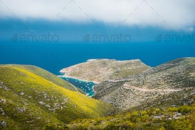 Porto Vromi summer landscape. Coastline of Zakynthos Island, Greece