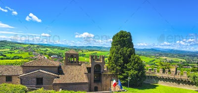 Gradara medieval village view from castle, Pesaro and Urbino, Marche region, Italy