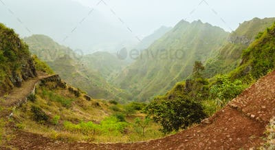 Santa Antao island in Cape Verde. Panoramic view of the fertile ravine valley with volcanic mountain