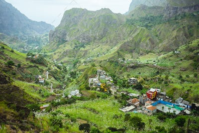 Gorgeous panorama view of a fertile Paul valley. Agriculture terraces of sugarcane in vertical