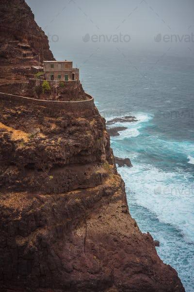 Santo Antao. Cape Verde. Stunning scenery of the coastal trail. Steep black cliffs stretched out