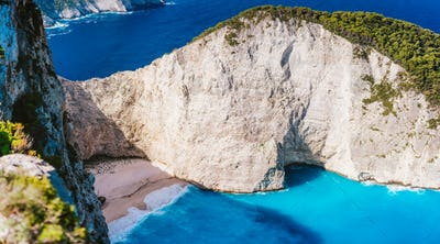 Close up of Navagio beach, Zakynthos island, Greece. Shipwreck bay with turquoise water and white