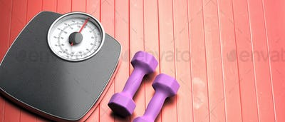Bathroom scale and pair of dumbbells against red wood floor. 3d illustration