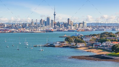 Devonport and Auckland City Skyline