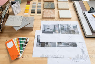 Photos of flat or house interior, samples of panels, color swatches and palette