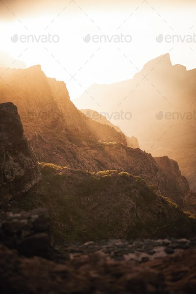 volcanic rock mountains in Tenerife, Canary Islands, Spain
