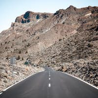 Empty road to the mountains on Tenerife, Spain