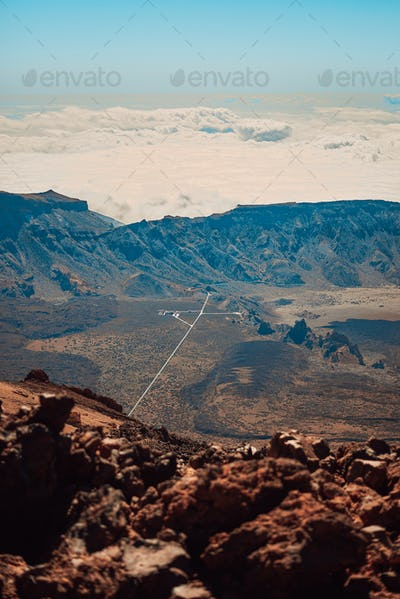 Unique road of access to the Teide mountain on Tenerife, Spain