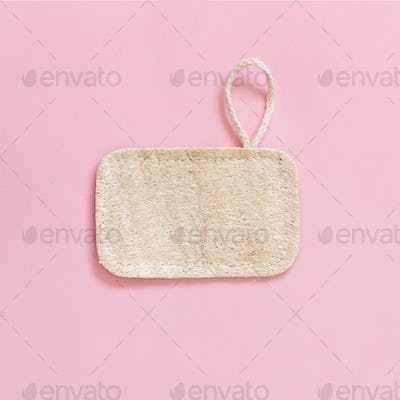 Eco friendly  dish washing sponge on pink background