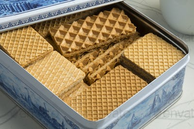 Traditional dutch cookie box with waffles