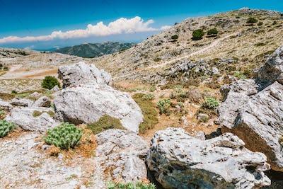 Mountainscape plateau and rocky highland of Kefalonia island, Greece with barren vegetation