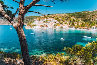 Assos village, Kefalonia Island Greece. Turquoise cove with transparent water of Mediterranean sea