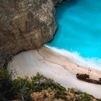 Close up of Shipwreck in Navagio beach. Famous tourist visiting landmark on Zakynthos island, Greece