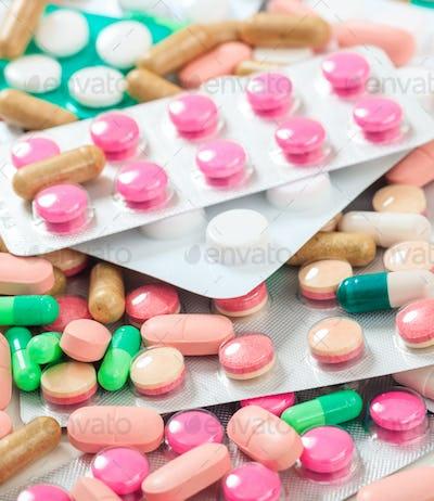 Medicine pills background, texture. Health pharmacy concept