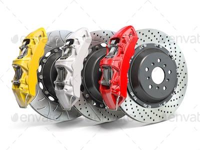 Braking system. Car brake disks